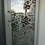 decorative window tinting on a glass door