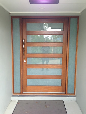 Frosted window film installed on a front door for a Gold Coast home