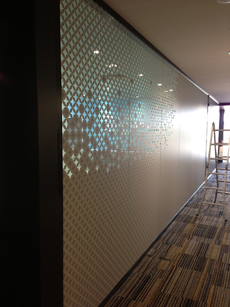 Decorative window film installed on a glass wall of an office in the Gold Coast